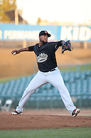 Jency Solis (39) of the Visalia Rawhide pitches against the Lancaster JetHawks at The Hanger on July 6, 2016 in Lancaster, California. Lancaster defeated Visalia, 10-7. (Larry Goren/Four Seam Images)