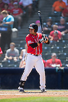 Eliezer Zambrano (2) of the Richmond Flying Squirrels at bat against the Bowie Baysox at The Diamond on May 24, 2015 in Richmond, Virginia.  The Flying Squirrels defeated the Baysox 5-2.  (Brian Westerholt/Four Seam Images)