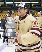 Chris Venti (BC - 30) - The Boston College Eagles defeated the Boston University Terriers 3-2 (OT) to win the 2012 Beanpot championship on Monday, February 13, 2012, at TD Garden in Boston, Massachusetts.