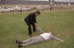 Dead drunk, passed out The Derby Horse race Epsom Downs Surrey Uk Circa 1985