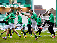 6th February 2021; Easter Road, Edinburgh, Scotland; Scottish Premiership Football, Hibernian versus Aberdeen; Jamie Murphy of Hibernian warms up before kick off