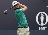 13th July 2021; The Royal St. George's Golf Club, Sandwich, Kent, England; The 149th Open Golf Championship, practice day; Lanto Griffin (USA) plays his tee shot on the 1st hole