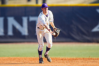 High Point Panthers shortstop Tony Fortier-Bensen (8) flips the ball to second base during the game against the Bowling Green Falcons at Willard Stadium on March 9, 2014 in High Point, North Carolina.  The Falcons defeated the Panthers 7-4.  (Brian Westerholt/Four Seam Images)