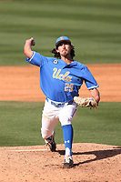 Michael Townsend (29) of the UCLA Bruins pitches against the Arizona Wildcats at Jackie Robinson Stadium on March 20, 2021 in Los Angeles, California. Arizona defeated UCLA, 7-3. (Larry Goren/Four Seam Images)