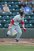 Danny Mars (2) of the Salem Red Sox starts down the first base line Winston-Salem Dash at BB&T Ballpark on June 16, 2016 in Winston-Salem, North Carolina.  The Dash defeated the Red Sox 7-1.  (Brian Westerholt/Four Seam Images)