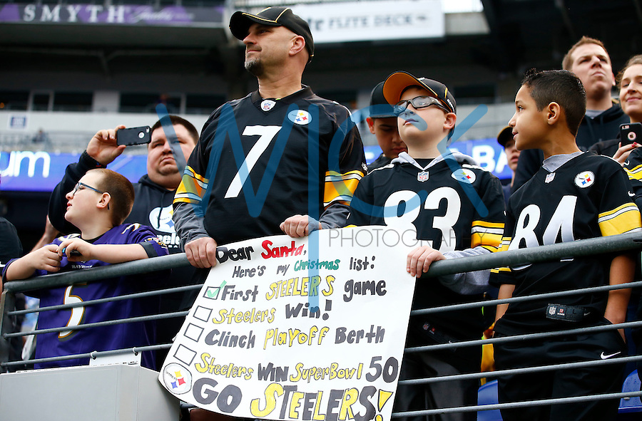 A young Pittsburgh Steelers fan holds up a sign during warm ups prior to the game against the Baltimore Ravens during the game at M&T Bank Stadium on December 27, 2015 in Baltimore, Maryland. (Photo by Jared Wickerham/DKPittsburghSports)