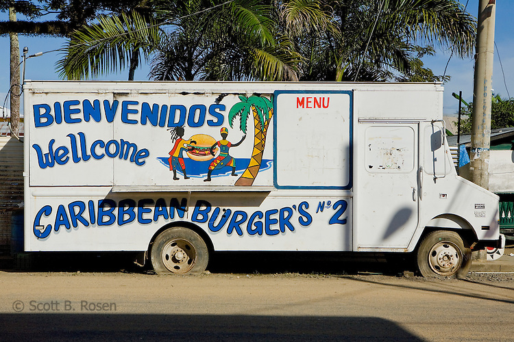 The famous Carribean Burgers truck resting during the day before it opens for the night rush, Bocas Town, Bocas del Toro, Panama
