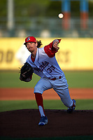 Stockton Ports starting pitcher Zack Erwin (33) delivers a pitch during a California League game against the Rancho Cucamonga Quakes at Banner Island Ballpark on May 16, 2018 in Stockton, California. Rancho Cucamonga defeated Stockton 6-3. (Zachary Lucy/Four Seam Images)