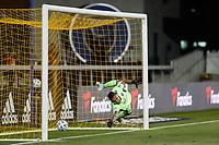 SAN JOSE, CA - SEPTEMBER 19: San Jose Earthquakes goalkeeper Daniel Vega #17 dives for a penalty kick during a game between Portland Timbers and San Jose Earthquakes at Earthquakes Stadium on September 19, 2020 in San Jose, California.