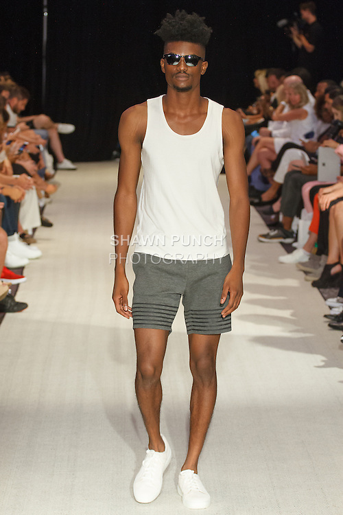 Model walks runway in an outfit from the Grungy Gentleman Spring Summer 2017 collection by Jace Lipstein on July 14 2016, at the W Hotel on 541 Lexington Avenue, during New York Fashion Week Men's Spring Summer 2017.