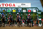 AUG 24: Midnight Bisou with Mike Smith races in the Personal Ensign Stakes at Saratoga Racecourse in New York on August 24, 2019. Evers/Eclipse Sportswire/CSM