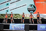 Boels Dolmans Cycling Team at the presentation before the start of La Course By Le Tour de France 2020, running 96km from Nice to Nice, France. 29th August 2020.<br /> Picture: ASO/Thomas Maheux | Cyclefile<br /> All photos usage must carry mandatory copyright credit (© Cyclefile | ASO/Thomas Maheux)