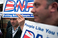 Supporters of the British National Party (BNP) wait to heckle Conservative Party leader David Cameron who was due to arrive at a health clinic in Dagenham, East London.