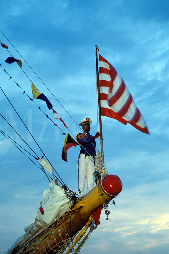 Lowering the Flag  New York City Harbor  Indonesian Navy Dewaruri Tall Ship Schooner