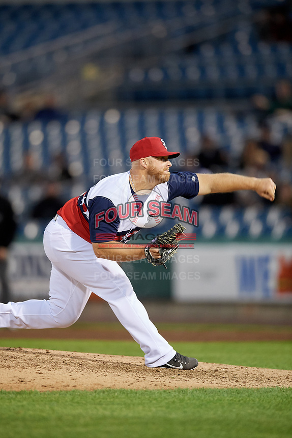 Syracuse Chiefs relief pitcher Josh Edgin (27) delivers a pitch during a game against the Scranton/Wilkes-Barre RailRiders on June 14, 2018 at NBT Bank Stadium in Syracuse, New York.  Scranton/Wilkes-Barre defeated Syracuse 9-5.  (Mike Janes/Four Seam Images)
