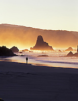 Person walking along foggy beach at Port Orford, oregon.