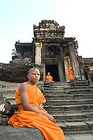Monks at Angkor Wat.