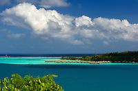 Bungalows over water. Bora bora. French Polynesia.