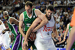 Real Madrid´s Felipe Reyes and Unicaja´s Vladimir Golubovic during 2014-15 Liga Endesa match between Real Madrid and Unicaja at Palacio de los Deportes stadium in Madrid, Spain. April 30, 2015. (ALTERPHOTOS/Luis Fernandez)