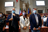 Three of the candidates mayor of Rome at the next elections, Roberto Gualtieri, Virginia Raggi and Carlo Calenda during a conference in the Giulio Cesare hall of the Campidoglio. <br /> Rome (Italy), September 15th 2021<br /> Photo Samantha Zucchi Insidefoto