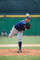 Lakeland Flying Tigers starting pitcher Kyle Funkhouser (47) follows through on a pitch during the second game of a doubleheader against the Clearwater Threshers on June 14, 2017 at Spectrum Field in Clearwater, Florida.  Lakeland defeated Clearwater 1-0.  (Mike Janes/Four Seam Images)