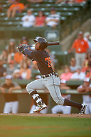 Detroit Tigers shortstop Wenceel Perez (76) follows through on a swing during a Grapefruit League Spring Training game against the Baltimore Orioles on March 3, 2019 at Ed Smith Stadium in Sarasota, Florida.  Baltimore defeated Detroit 7-5.  (Mike Janes/Four Seam Images)