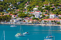 Charlotte Amalie, St. Thomas, U.S. Virgin Islands.  Small Boats in the Bay, mid-afternoon.  Blackbeard's castle upper right.