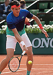 May 25, 2016:  Milos Raonic (CAN) defeated Adrian Mannarino (FRA) 6-1, 7-6, 6-1, at the Roland Garros being played at Stade Roland Garros in Paris, .  ©Leslie Billman/Tennisclix/CSM