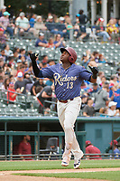 Frisco RoughRiders Juremi Profar (13) looks to the sky as he scores after hitting a home run during a Texas League game against the Midland RockHounds on May 21, 2019 at Dr Pepper Ballpark in Frisco, Texas.  (Mike Augustin/Four Seam Images)
