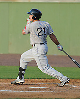 Infielder Travis Shaw (21) of the Salem Red Sox, a Boston Red Sox affiliate, in a game against the Potomac Nationals on June 8, 2012, at Pfitzner Stadium in Woodbridge, Virginia. Potomac won the first game of a doubleheader, 5-4. (Tom Priddy/Four Seam Images)