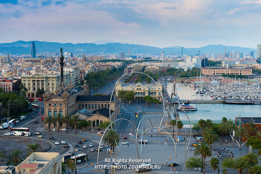 Columbus Monument and Barcelona port, Spain