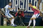 CD Leganes' Oscar Rodriguez Arnaiz (l) and Gerard Gumbau celebrate goal during La Liga match. September 26,2018. (ALTERPHOTOS/Acero)