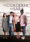 Spanish director, Norberto López Amado (c-l), the actors<br /> Belén Rueda (c-r), Marian Álvarez (l) and Ivan Mendes during the photocall of presentation of the film 'El cuaderno de Sara'. January 30, 2018. (ALTERPHOTOS/Acero)
