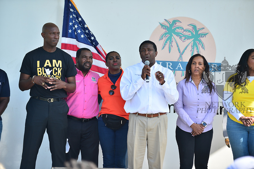 MIRAMAR,  FLORIDA - JANUARY 20: Pembroke Pines Commissioner Angelo Castillo, City of Miramar Mayor Wayne Messam, City of Miramar Vice Mayor Alexandra P. Davis, City of Miramar Commissioner Maxwell B. Chambers, City of Miramar Commissioner Yvette Colbourne, Broward County Commissioner Barbara Sheriff and Broward County Mayor Dale V.C. Holness attend the annual Reverend Dr. Martin Luther King, Jr. Day celebration City Miramar MLK Parades between Sherman Cirrcle and Lakeshore Park on January 20, 2020 in Miramar, Florida.  ( Photo by Johnny Louis / jlnphotography.com )
