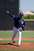 San Diego Padres pitcher Manny Guzman (90) delivers a pitch to the plate during an Instructional League game against the Texas Rangers on September 20, 2017 at Peoria Sports Complex in Peoria, Arizona. (Zachary Lucy/Four Seam Images)