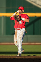 Cody Ramer #13 of the Arizona Wildcats throws during a College World Series Finals game between the Coastal Carolina Chanticleers and Arizona Wildcats at TD Ameritrade Park on June 28, 2016 in Omaha, Nebraska. (Brace Hemmelgarn/Four Seam Images)