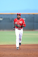 Raul Wallace (47) of the AZL Reds returns to the dugout during a game against the AZL Brewers at Cincinnati Reds Spring Training Complex on July 5, 2015 in Goodyear, Arizona. Reds defeated the Brewers, 9-4. (Larry Goren/Four Seam Images)