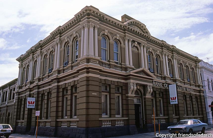 "Fremantle: Bank of New South Wales, 1891. Sir J.J. Talbot Hobbs. Former Western Australia Bank, ""grandiose Italianate Renaissance""."