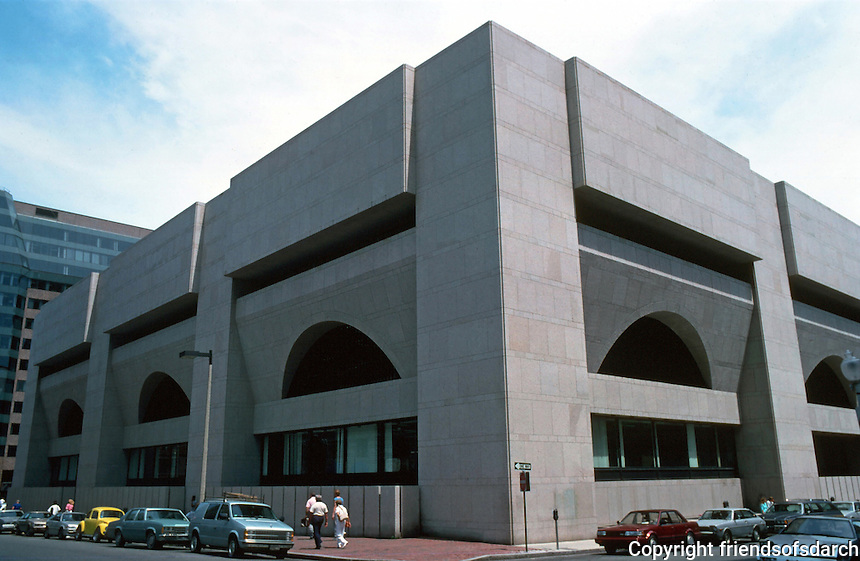 Boston:  Boston Public Library Addition, 1972.  Architect Philip Johnson.  Late Modern style.  Pink Milford granite, but massive exterior walls.  Photo '88.