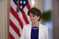 Marillyn Hewson, Executive Chairman, Lockheed Martin listens as United States President Donald J. Trump delivers remarks at the American Workforce Policy Advisory Board Meeting at the White House in Washington, DC on Friday, June 26, 2020. <br /> Credit: Chris Kleponis / Pool via CNP/AdMedia