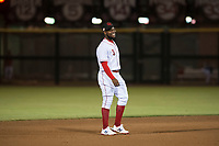 Scottsdale Scorpions shortstop Alfredo Rodriguez (3), of the Cincinnati Reds organization, during an Arizona Fall League game against the Salt River Rafters at Scottsdale Stadium on October 12, 2018 in Scottsdale, Arizona. Scottsdale defeated Salt River 6-2. (Zachary Lucy/Four Seam Images)