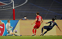 23rd August 2020, Estádio da Luz, Lison, Portugal; UEFA Champions League final, Paris St Germain versus Bayern Munich; Marquinhos (PSG) sees his shot saved by Manuel Neuer (Munich) watched by Leon Goretzka (Munich)