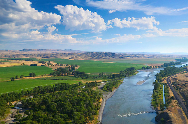 Irrigated fields along Yellowstone River