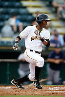 Bradenton Marauders Andy Vasquez #2 during a Florida State League game against the Tampa Yankees at McKechnie Field on July 19, 2012 in Bradenton, Florida.  Bradenton defeated Tampa 4-3.  (Mike Janes/Four Seam Images)