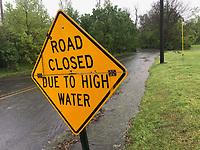A sign warns of a closed road on south Ball Street in Johnson Arkansas. (NWA Democrat-Gazette/DAVID GOTTSCHALK)