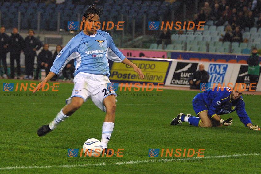 Roma 17 Febbraio 2002<br /> Lazio - Chievo 1-1<br /> Simone Inzaghi segna un gol in fuorigioco nel primo tempo