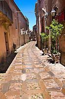 Narrow lanes of Érice, Erice, Sicily stock photos.