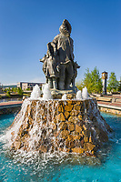 First family statue in the Golden Heart Plaza, downtown, Fairbanks, Alaska