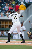 John Mayberry Jr. (15) of the Charlotte Knights at bat against the Rochester Red Wings at BB&T BallPark on August 8, 2015 in Charlotte, North Carolina.  The Red Wings defeated the Knights 3-0.  (Brian Westerholt/Four Seam Images)