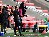 Fleetwood Town manager Joey Barton in his technical area<br /> <br /> Photographer Chris Vaughan/CameraSport<br /> <br /> The EFL Sky Bet League One - Fleetwood Town v Lincoln City - Saturday 17th October 2020 - Highbury Stadium - Fleetwood<br /> <br /> World Copyright © 2020 CameraSport. All rights reserved. 43 Linden Ave. Countesthorpe. Leicester. England. LE8 5PG - Tel: +44 (0) 116 277 4147 - admin@camerasport.com - www.camerasport.com